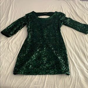 Green cocktail sequence mini dress